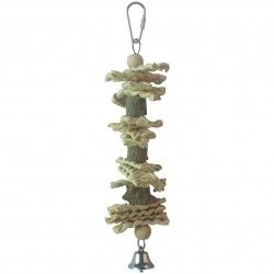 Natural wood toy for birds ICA BR407 WITH CAMPANA