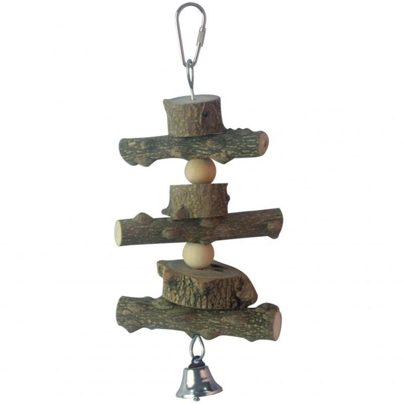 Jouet en bois naturel pour oiseaux ICA BR413