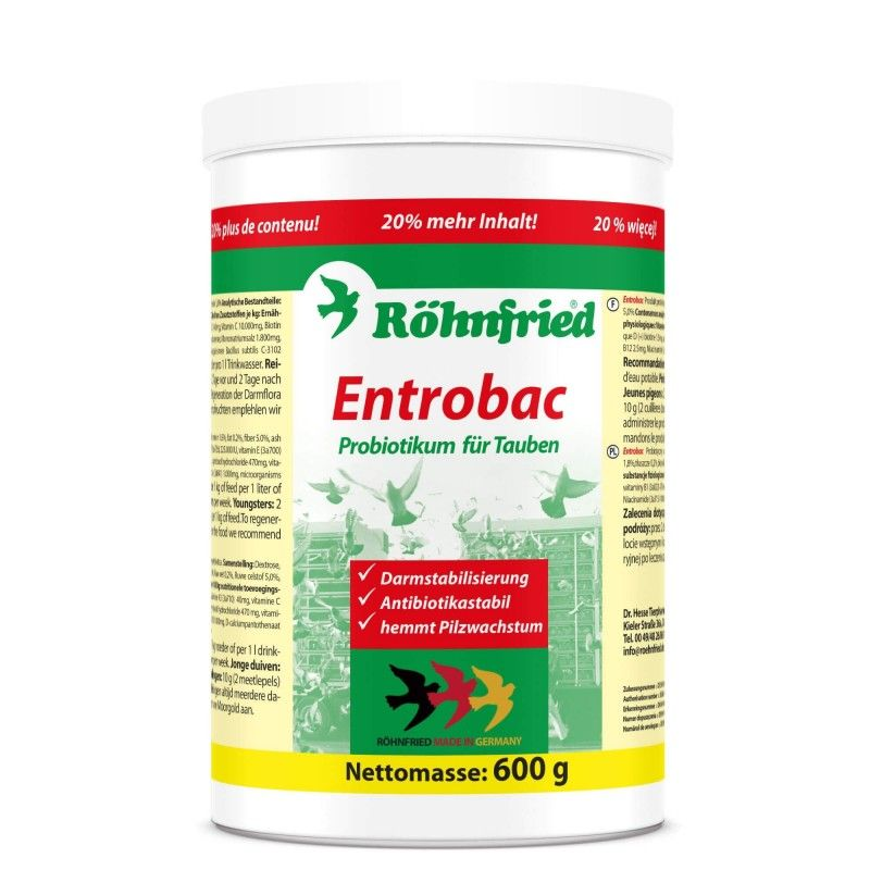 Mezcla de probióticos y prebióticos ENTROBAC ROHNFRIED 600 gr