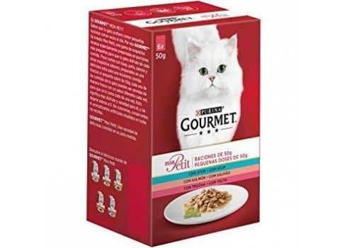 Food for cats with TUNA, SALMON, AND TROUT MON PETIT GOURMET PURINE-6 x 50 gr